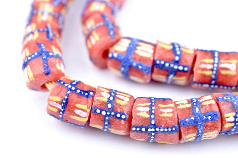 Image of Blue French Cross Krobo Beads - The Bead Chest