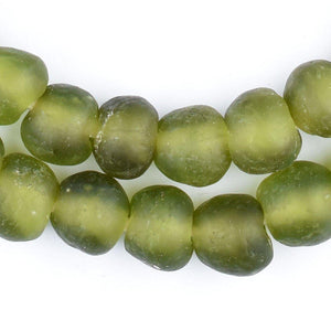 Olive Green Recycled Glass Beads (14mm) - The Bead Chest