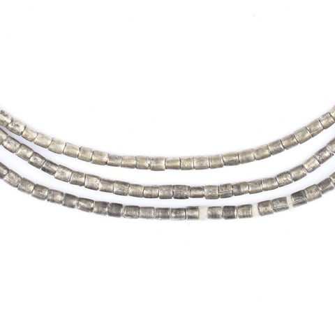 Image of Small Dark Silver Ethiopian Tube Beads (2mm) - The Bead Chest
