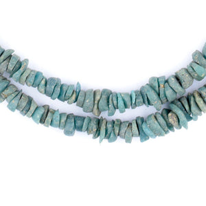 Vintage Turquoise Sandcast Glass Chip Beads - The Bead Chest