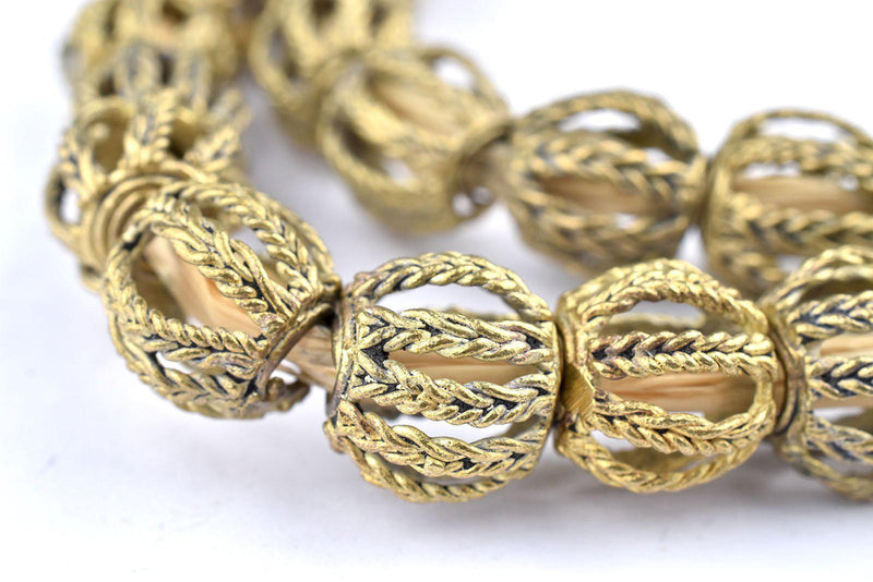 Twisted Cage Brass Filigree Beads (15mm) - The Bead Chest