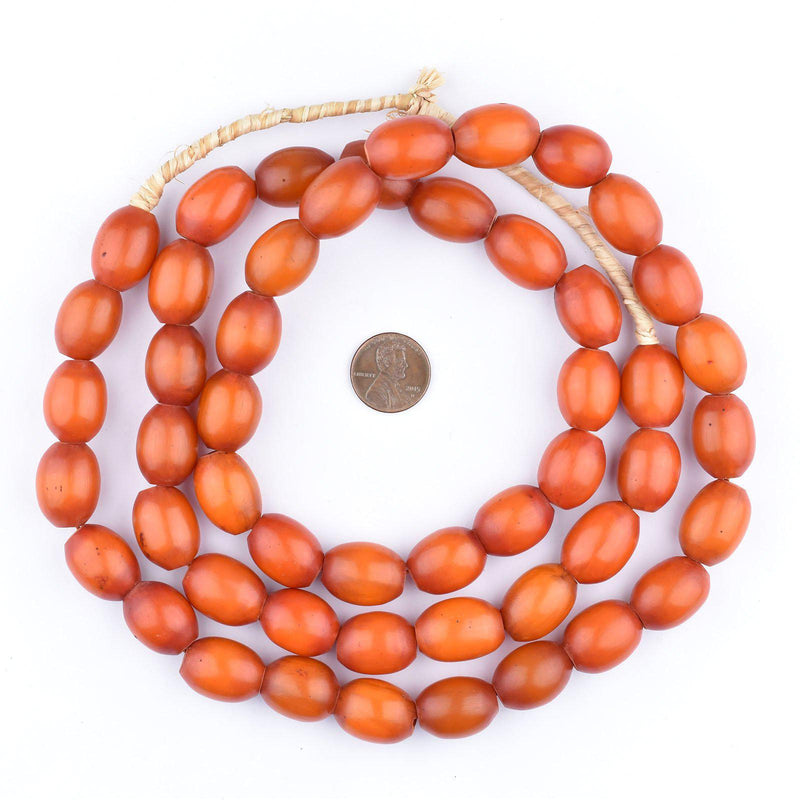 Rich Red Oval Kenya Amber Resin Beads (Long Strand) - The Bead Chest