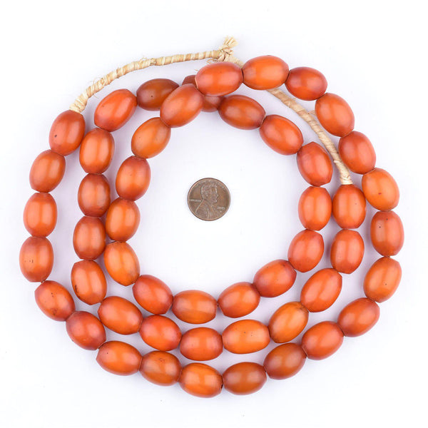 Rich Red Oval Kenya Amber Resin Beads (Long Strand)