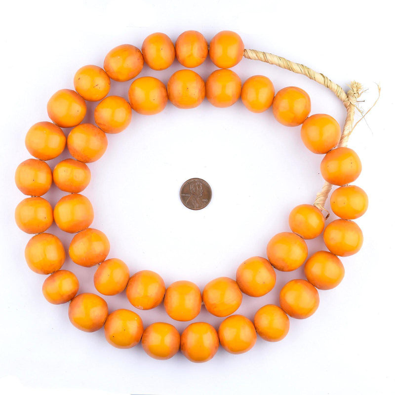 Tangerine Kenya Amber Resin Beads (24mm) - The Bead Chest