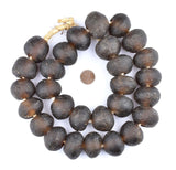 Super Jumbo Root Beer Brown Recycled Glass Beads (34mm)