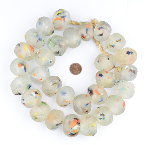 Image of Super Jumbo Clear Colored Medley Recycled Glass Beads (34mm) - The Bead Chest