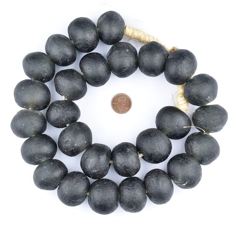 Super Jumbo Black Recycled Glass Beads (32mm) - The Bead Chest