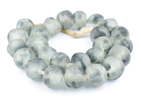Super Jumbo Grey Mist Recycled Glass Beads (34mm) - The Bead Chest
