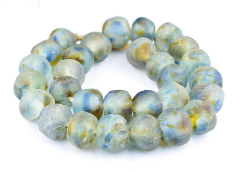 Super Jumbo Brown Blue Swirl Recycled Glass Beads (34mm) - The Bead Chest