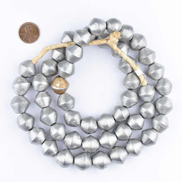 Maasai Silver Beads (Eye Bicone)