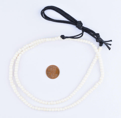 White Bone Cylinder Beads (5mm) - The Bead Chest