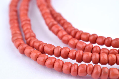 Image of Light Red Ghana Glass Beads (2 Strands) - The Bead Chest