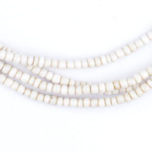 Vintage White Nigerian Glass Beads (3mm) - The Bead Chest