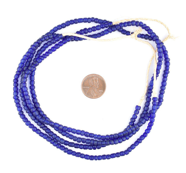 Translucent Cobalt Blue Ghana Glass Beads (2 Strands)