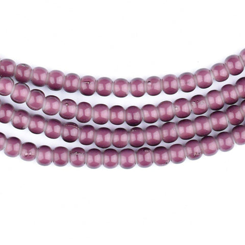 Purple White Heart Beads (4mm) - The Bead Chest
