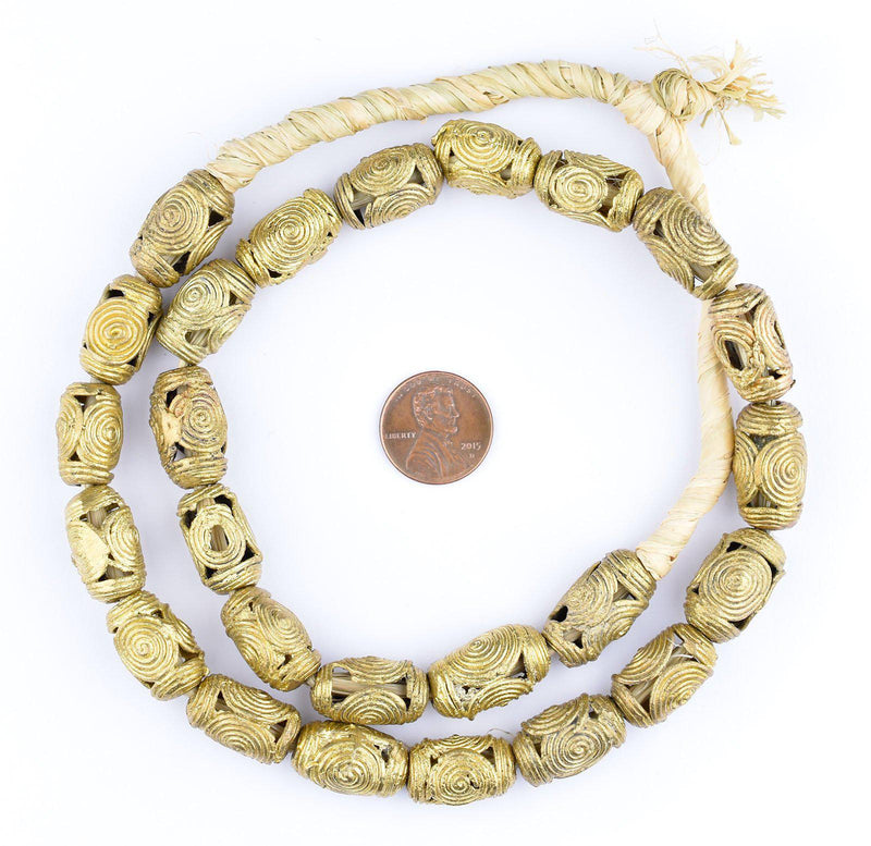 Cameroon-Style Barrel Brass Filigree Beads (19x12mm) - The Bead Chest
