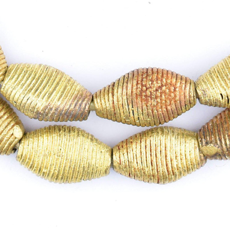 Wound Flattened Bicone Ghana Brass Beads (23x14mm) - The Bead Chest