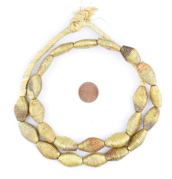 Wound Flattened Bicone Ghana Brass Beads (23x14mm)
