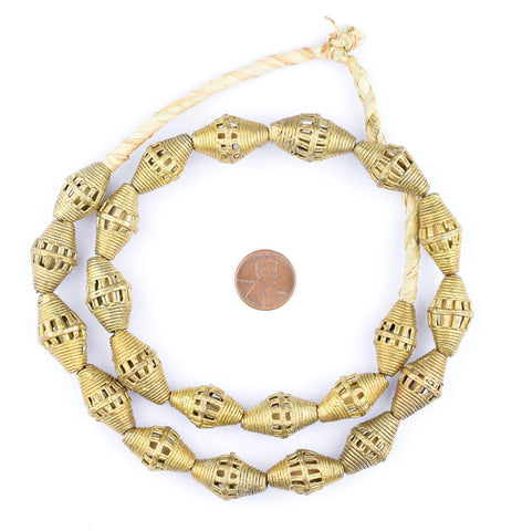 Striated Bicone Brass Filigree Beads (25x14mm) - The Bead Chest