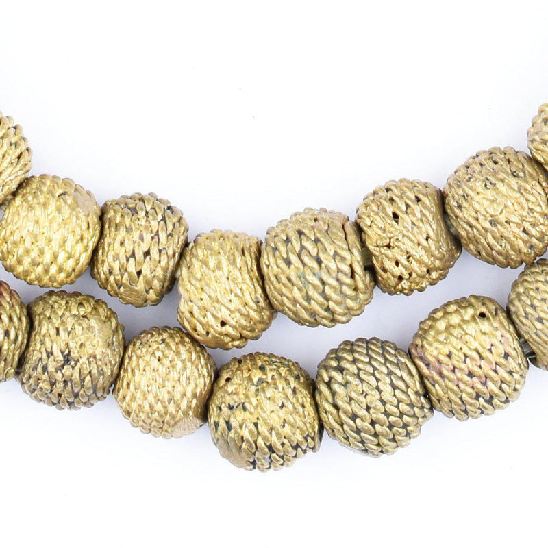 Woven Round Ghana Brass Filigree Beads (12mm) - The Bead Chest