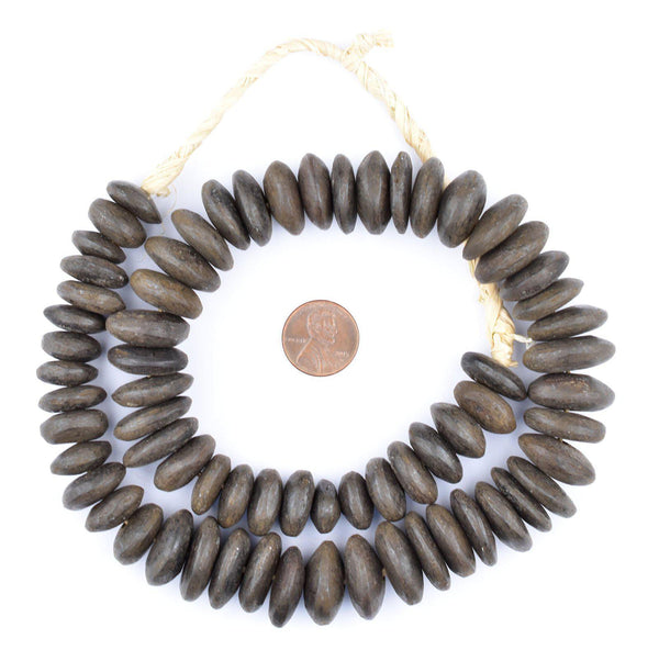 Kenya Matte Brown Bone Beads (Disk)