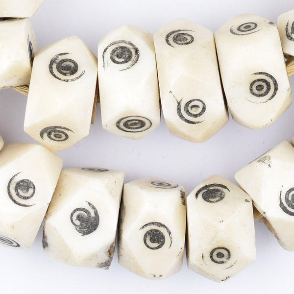 Carved Eye Batik Bone Beads (Faceted) - The Bead Chest