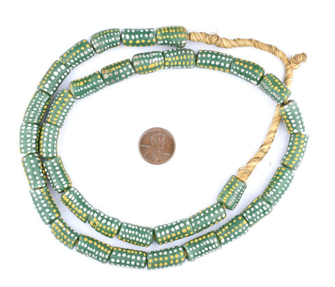 Dotted Green Cylinder Krobo Beads - The Bead Chest