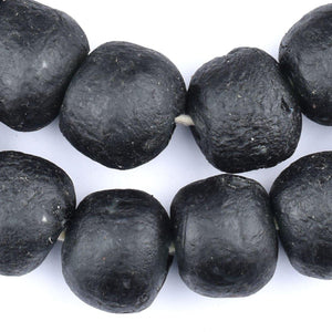 Jumbo Charcoal Black Recycled Glass Beads (22mm) - The Bead Chest