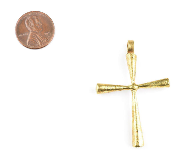 Ethiopian Brass Cross Pendant (43x35mm)