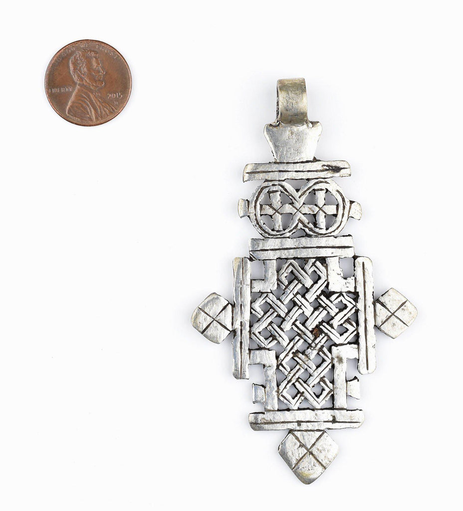 Silver Ethiopian Coptic Cross (Large) - The Bead Chest