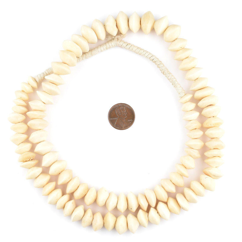 Nigerian Saucer White Camel Bone Beads (14mm) - The Bead Chest