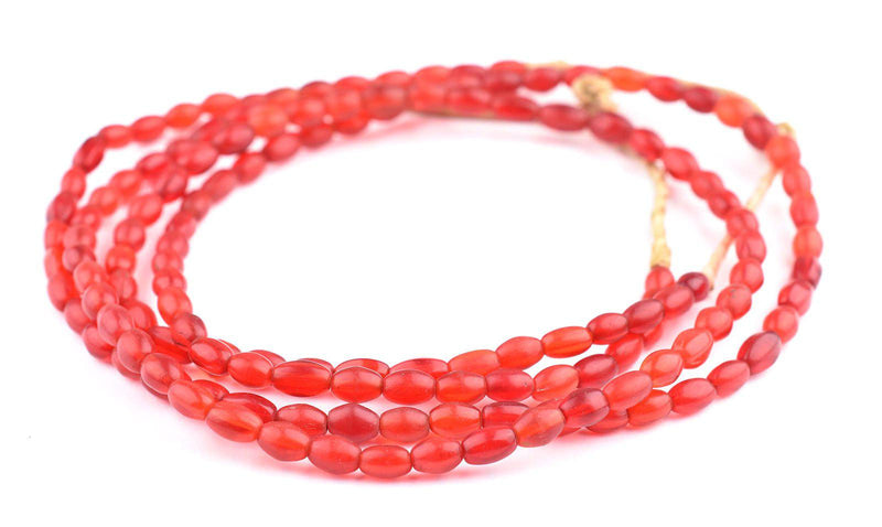 Vintage Translucent Red Czech Glass Oval Beads - The Bead Chest