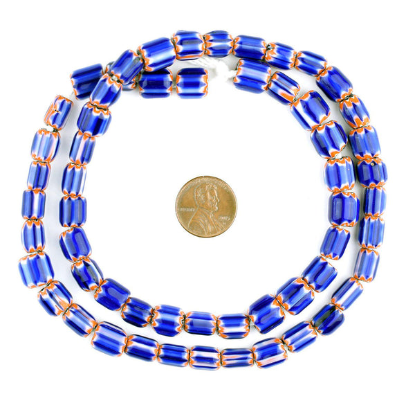 Blue Chevron Trade Beads (8mm)