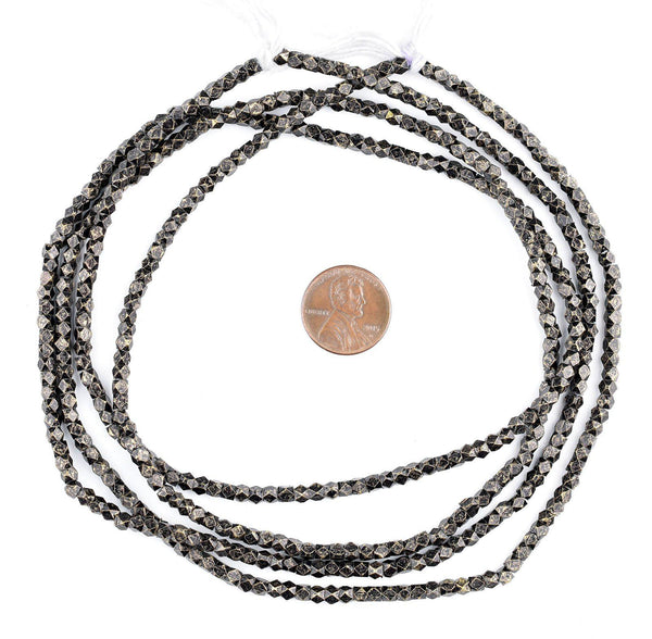 Blackened Brass Faceted Diamond Cut Beads (3mm)