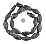 Mauritanian Inlaid Ebony Wood Bicone Beads (34x20mm)