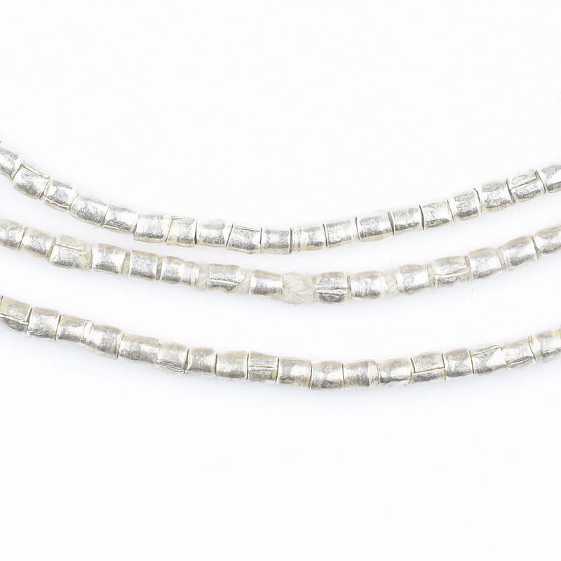 Small Silver Tube Ethiopian Beads (2x2mm) - The Bead Chest