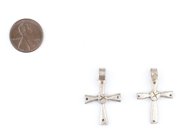 Small Silver Ethiopian Dotted Cross Pendants (Set of 2)