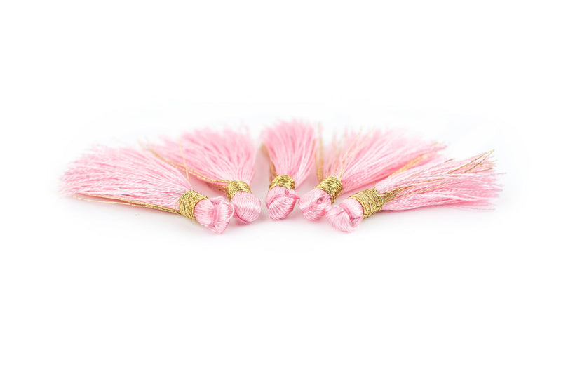 Rose 3cm Silk Tassels (5 Pack) - The Bead Chest