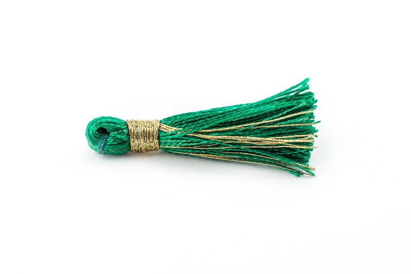 Green 3cm Silk Tassels (5 Pack) - The Bead Chest