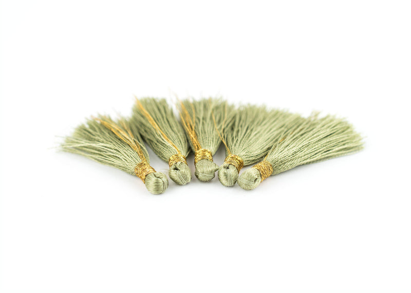 Light Green 3cm Silk Tassels (5 Pack) - The Bead Chest