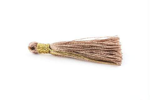 Image of Beige 3cm Silk Tassels (5 Pack) - The Bead Chest