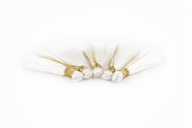 White 3cm Silk Tassels (5 Pack) - The Bead Chest