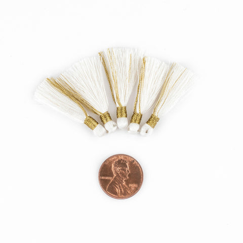 Image of White 3cm Silk Tassels (5 Pack) - The Bead Chest