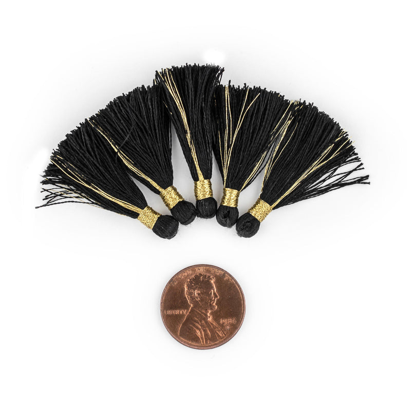 Black 3cm Silk Tassels (5 Pack) - The Bead Chest