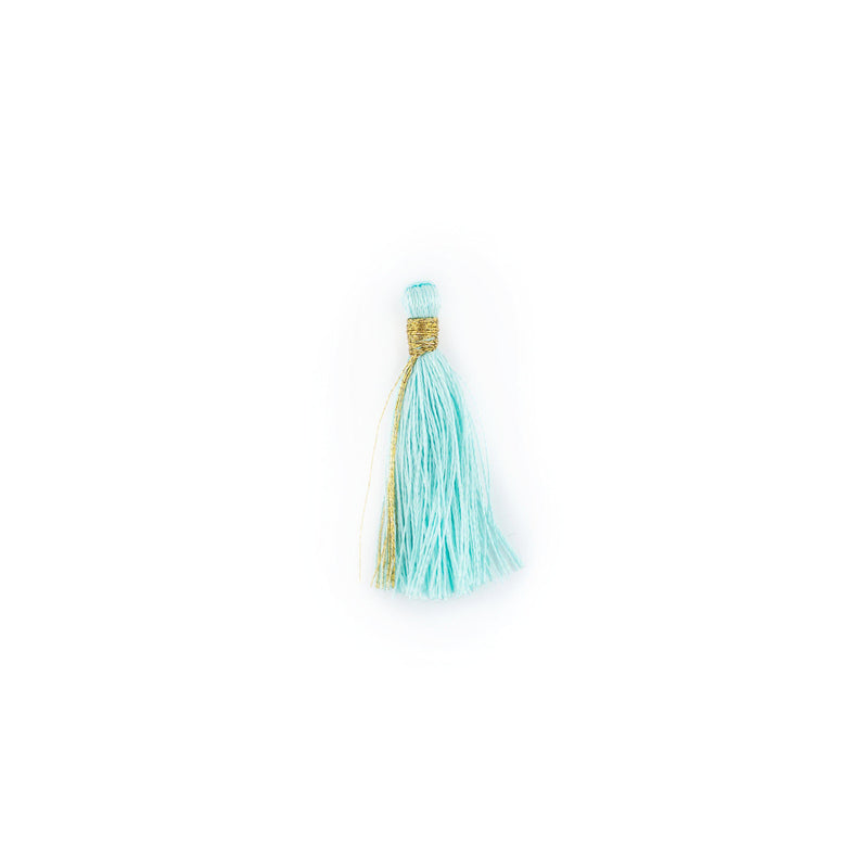 Clear Aqua 3cm Silk Tassels (5 Pack) - The Bead Chest