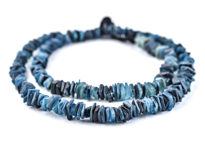 Azul Blue Square Cut Natural Shell Heishi Beads (8mm) - The Bead Chest