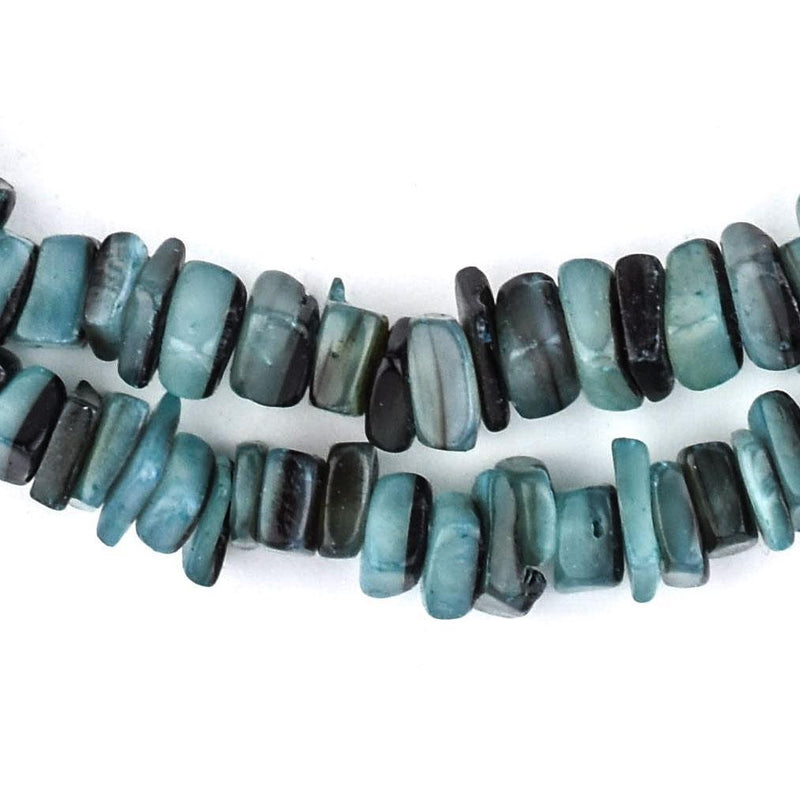 Turquoise Square Cut Natural Shell Heishi Beads (8mm) - The Bead Chest
