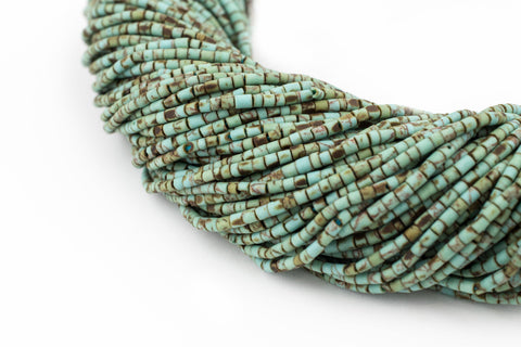 Turquoise-Style Afghani Stone Cylinder Beads (2mm) - The Bead Chest