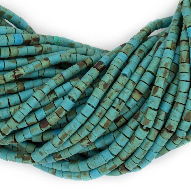 Turquoise-Style Afghani Stone Cylinder Beads (2.5mm) - The Bead Chest