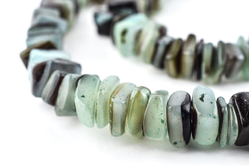 Fern Green Square Cut Natural Shell Heishi Beads (8mm) - The Bead Chest